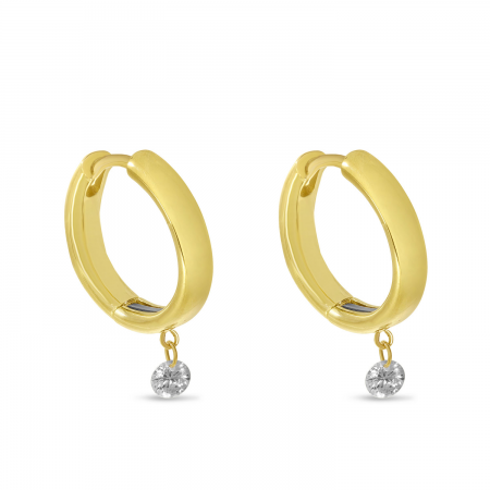 14K Yellow Gold Dashing Diamond Huggie Earrings with Magnetic Clasp