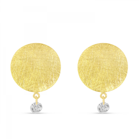 14K Yellow Gold Dashing Diamond Brushed Disc Earrings