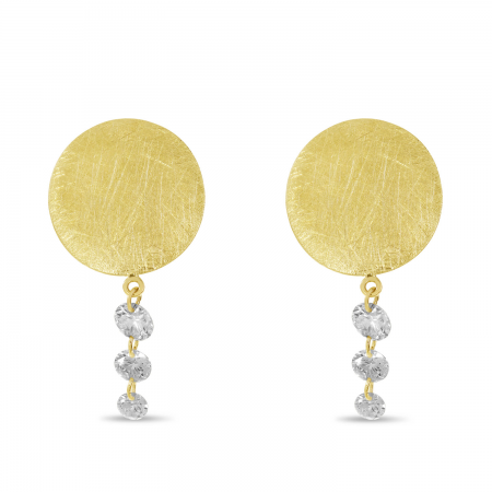 14K Yellow Gold Dashing Diamond Brushed Disc Cascade Earrings