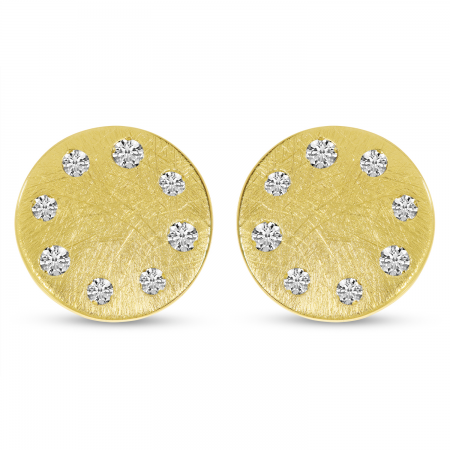 14K Yellow Gold Brushed Diamond Disc Earrings