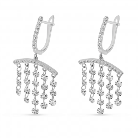 14K White Gold Dashing Diamond Bar Chandelier Earrings