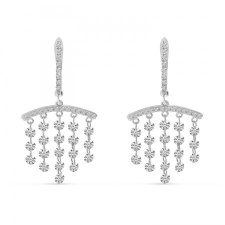 14K White Gold Dashing Diamond Bar Chandelier Earrings