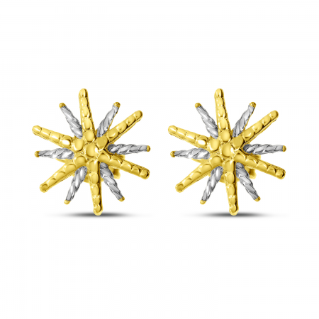 14K Yellow Gold Two-Tone Starburst Stud Earrings