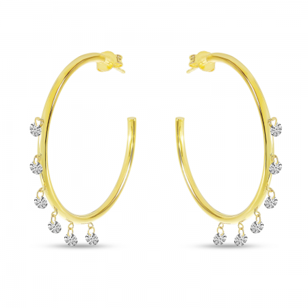 14K Yellow Gold Dashing Diamond 6 Stone Shaker Hoops Earring