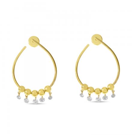 14K Yellow Gold Dashing Diamond Oval Hoop 5 Diamond Earrings