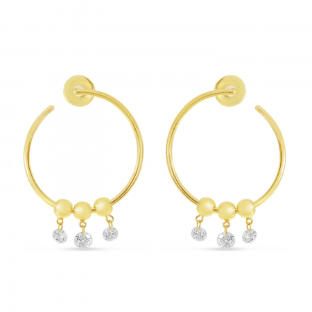14K Yellow Gold Dashing Diamond Circle Hoop Earrings