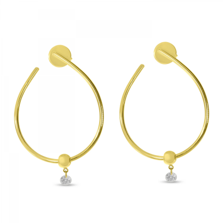 14K Yellow Gold Dashing Diamond Single Diamond Oval Hoop Earrings