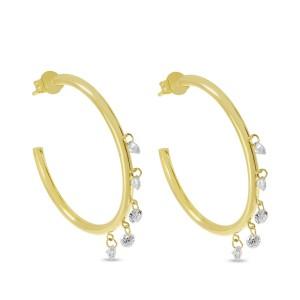 14K Yellow Gold Dashing Diamond Pierced five stone Shaker Hoops
