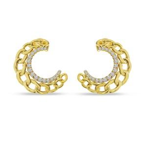 14K Yellow Gold Diamond Chain Link Front Hoop Earrings