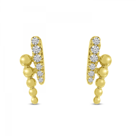 14K Yellow Gold Diamond Ball 2-Row Linear Earrings