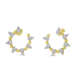 14K Yellow Gold Diamond Spike Ball Front Hoop Earrings