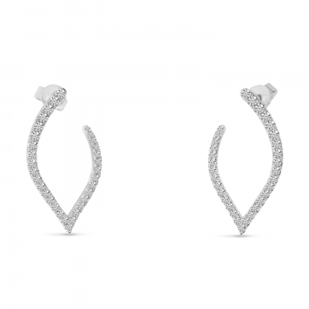 14K White Gold Diamond Petal Front Hoop Earrings