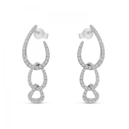 14K White Gold Diamond Chain Link Earrings