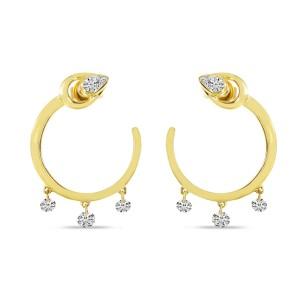 14K Yellow Gold Dashing Diamond Pear Front Hoop Three stone pierced Earrings
