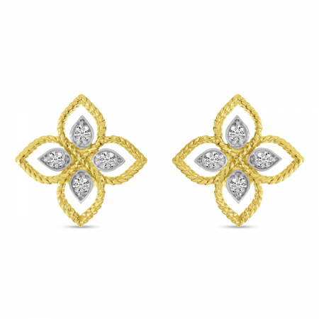 14K Yellow Gold Diamond Floral Millgrain Earrings