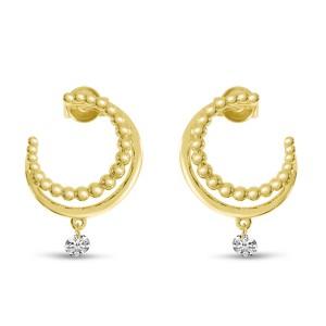 14K Yellow Gold Dashing Diamond Gold Ball Front Hoop Single Pierced Diamond Earrings