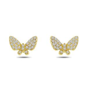 14K Yellow Gold Diamond Butterfly Post Earrings