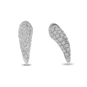 14K White Gold Diamond Horn Post Earrings