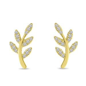 14K Yellow Gold Diamond Leaf Post Earrings