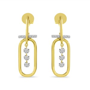 14K Yellow Gold Dashing Diamond Large Paper Clip Earrings