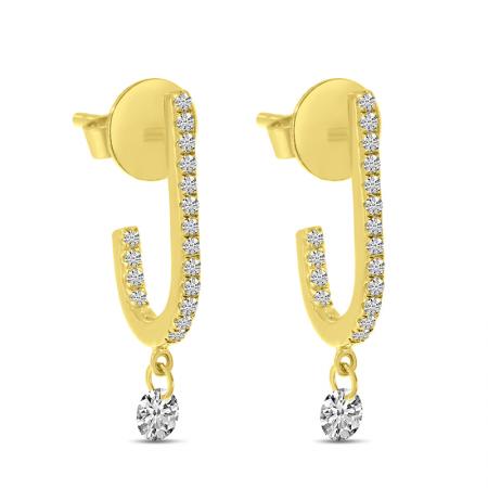 14K Yellow Gold Dashing Diamond Hook Earrings