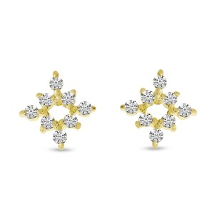 14K Yellow Gold Diamond Mini Starburst Stud Earrings
