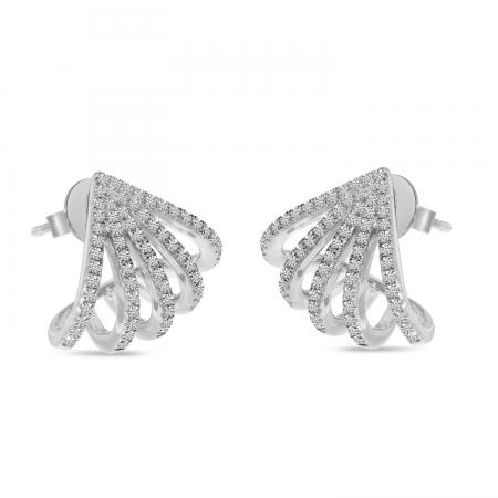 14K White Gold 5-Row Diamond Huggie Earrings