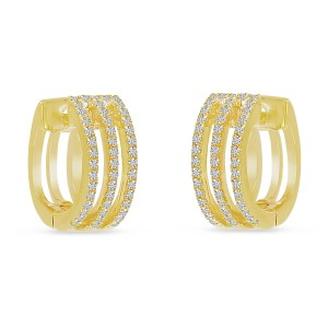 14K Yellow Triple Row Diamond Huggie Earrings