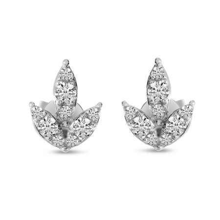 14K White Gold Diamond Lotus Floral Post Earrings