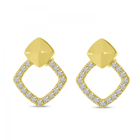 14K Yellow Gold Diamond Open Square Earrings