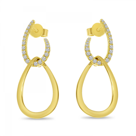 14K Yellow Gold Diamond Gold Double Link Earrings