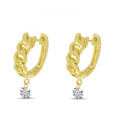14K Yellow Gold Dashing Diamond Chain Huggie Earrings