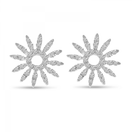 14K White Gold Diamond Burst Post Earrings