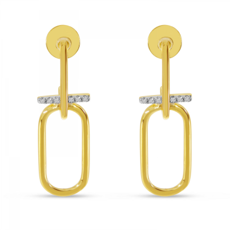 14K Yellow Gold Diamond wire Paperclip Earrings