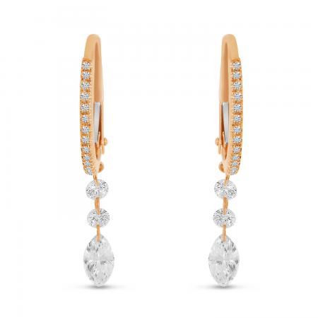 14K Rose Gold Dashing Diamonds Fancy Marquis Drop Earrings