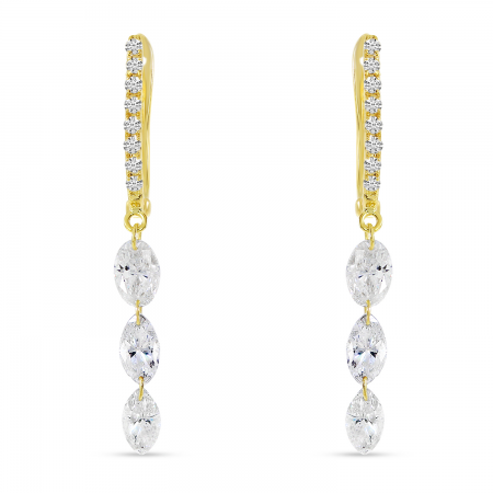 14K Yellow Gold Dashing Diamond Fancy Marquise Diamond Earrings