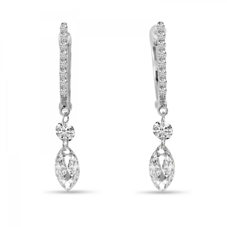 14K White Gold Dashing Diamond Fancy Round and Marquise Earrings