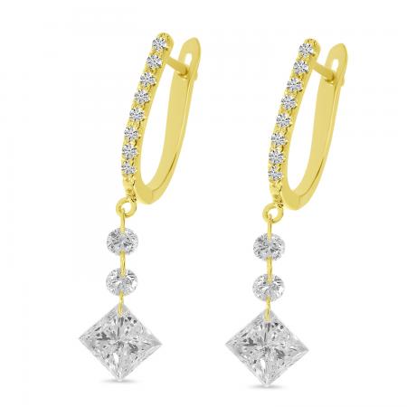 14K Yellow Gold Dashing Diamond Fancy Princess Cut Earrings