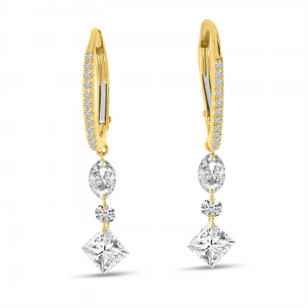 14K Yellow Gold Dashing Diamond Fancy Marquise, Round and Princess Earrings