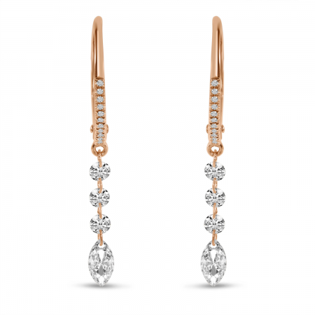 14K Rose Gold Dashing Diamond Fancy Round and Marquise Earrings
