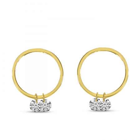 14K Yellow Gold Dashing Diamond Double Front Hoop Earrings