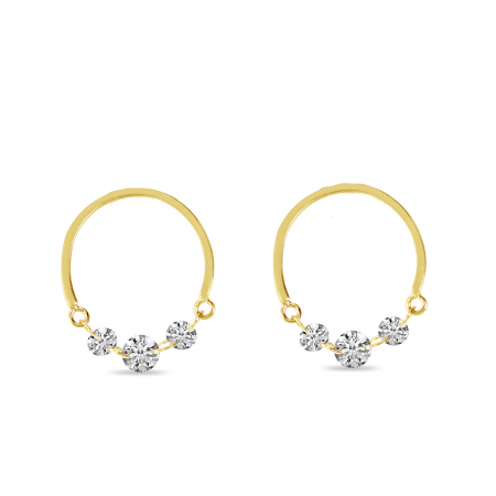 14K Yellow Gold Dashing Diamond Half Circle Front Hoop Earrings