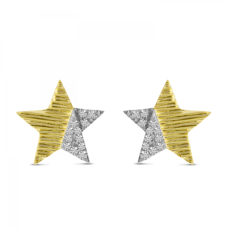 14K Yellow Gold Diamond Textured Star Post Earrings