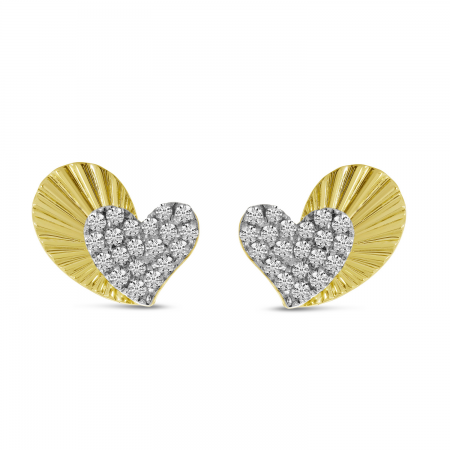 14K Yellow Gold Diamond Textured Heart Post Earrings