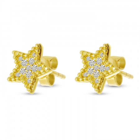 14K Yellow Gold Diamond Beaded Star Post Earrings