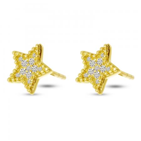 14K Yellow Gold Diamond Beaded Star Post Earrings