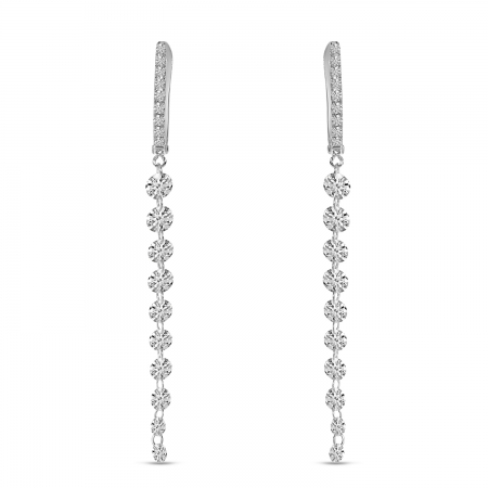 14K White Gold Dashing Diamonds Huggie Cascading Earrings