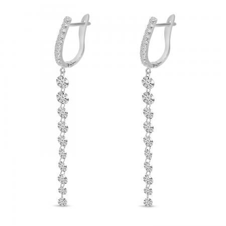 14K White Gold Dashing Diamonds Huggie Cascading Earrings