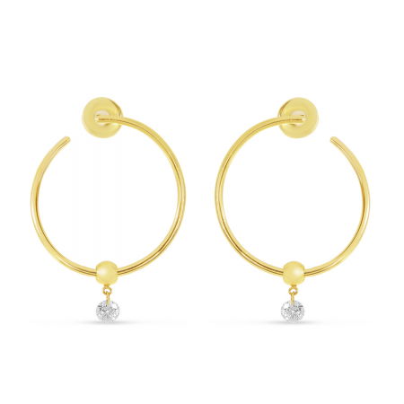 14K Yellow Gold Dashing Diamond Single Diamond Circle Hoop Earrings