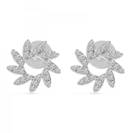 14K White Gold Diamond Pinwheel Earrings